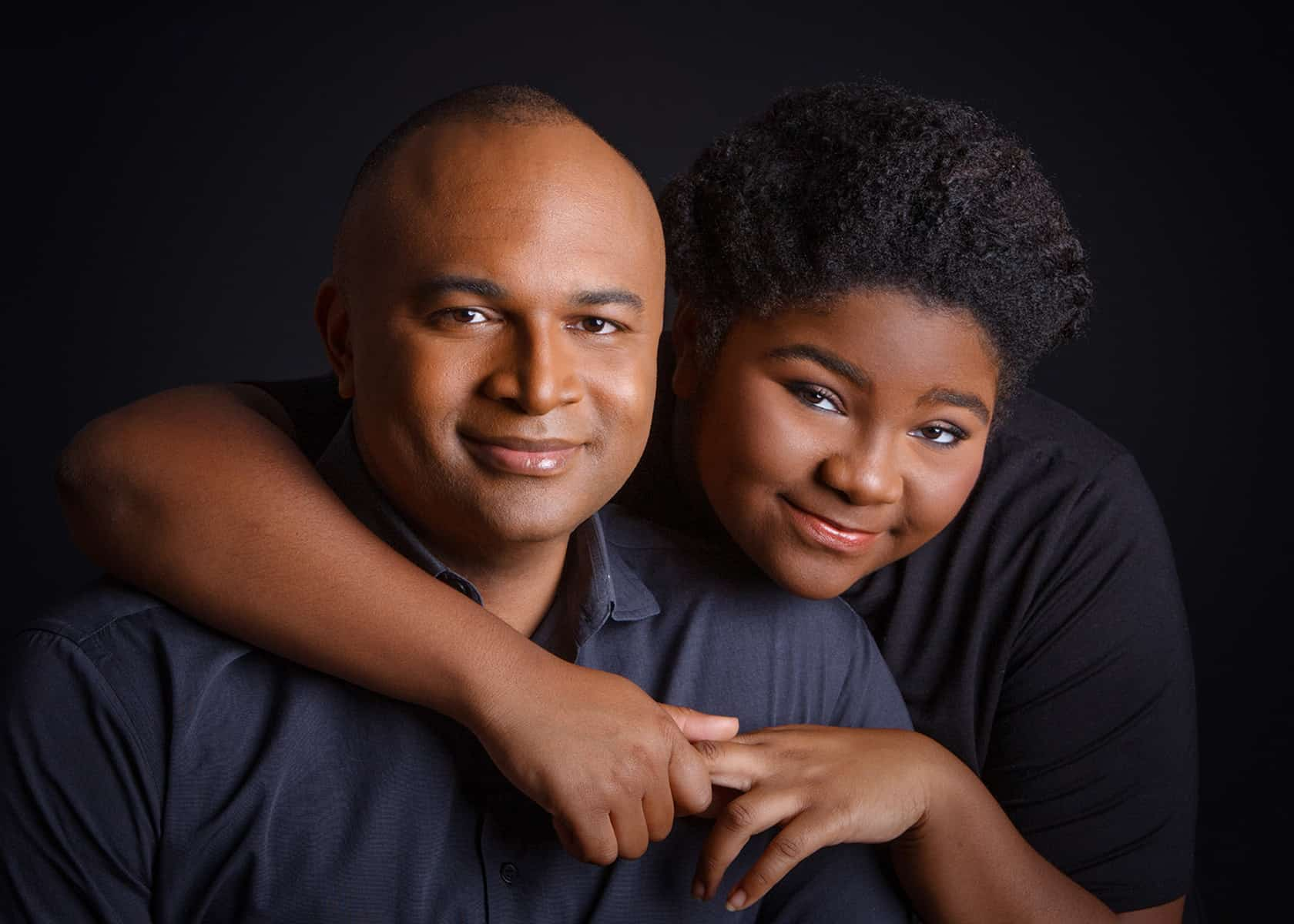 Father and daughter studio photoshoot