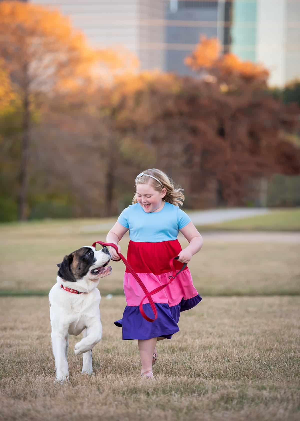 Girl and her dog at park for photoshoot
