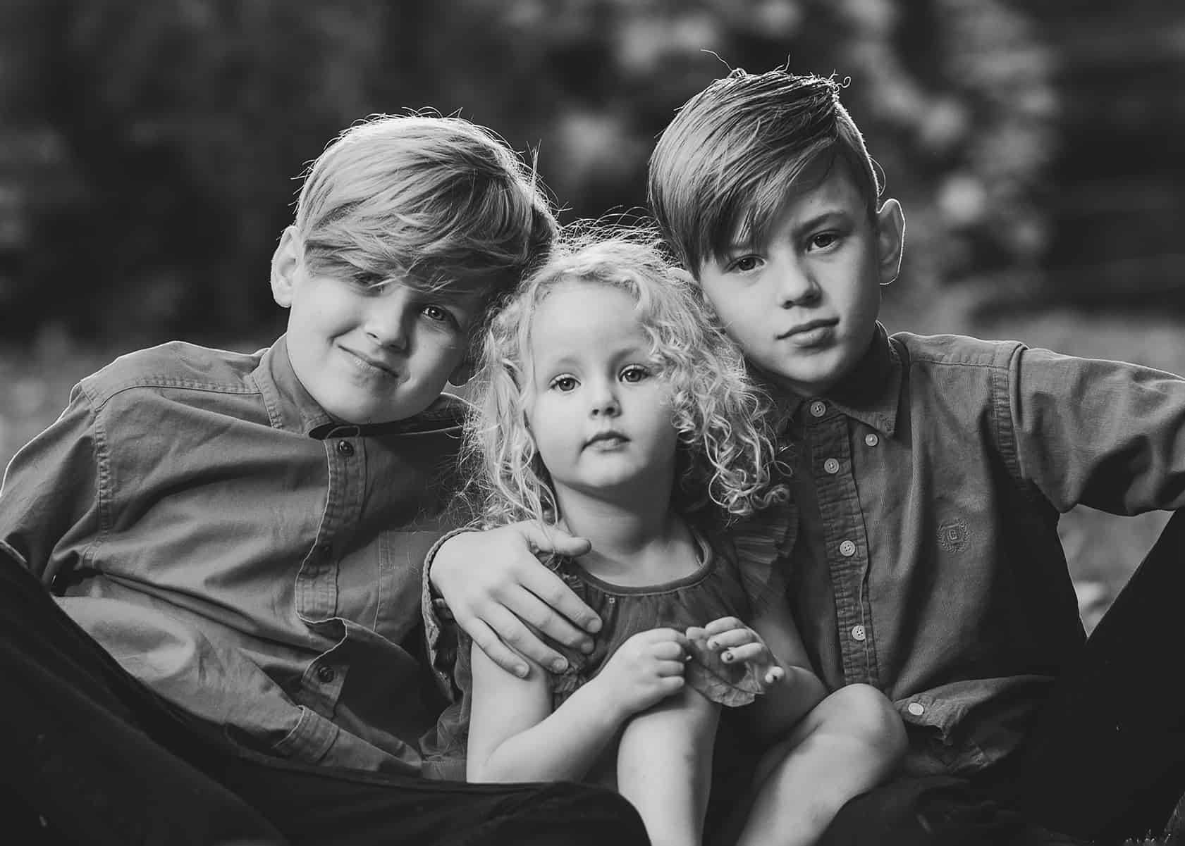Siblings photoshoot black and white