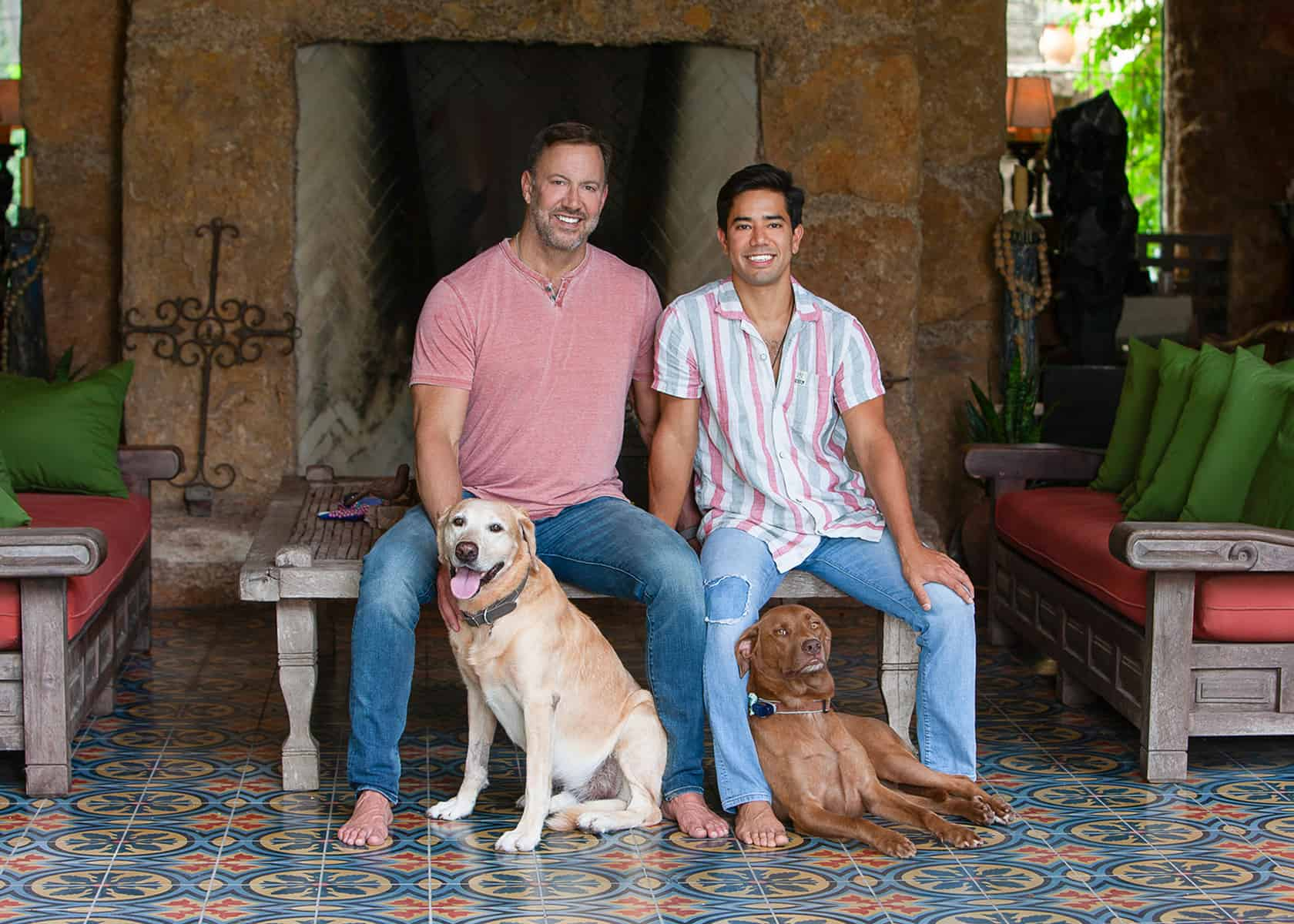 Couple with two dogs for in home portraits