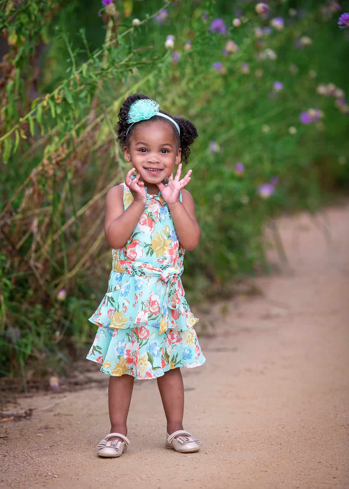Toddler in the spring at the Houston Arboretum for photoshoot