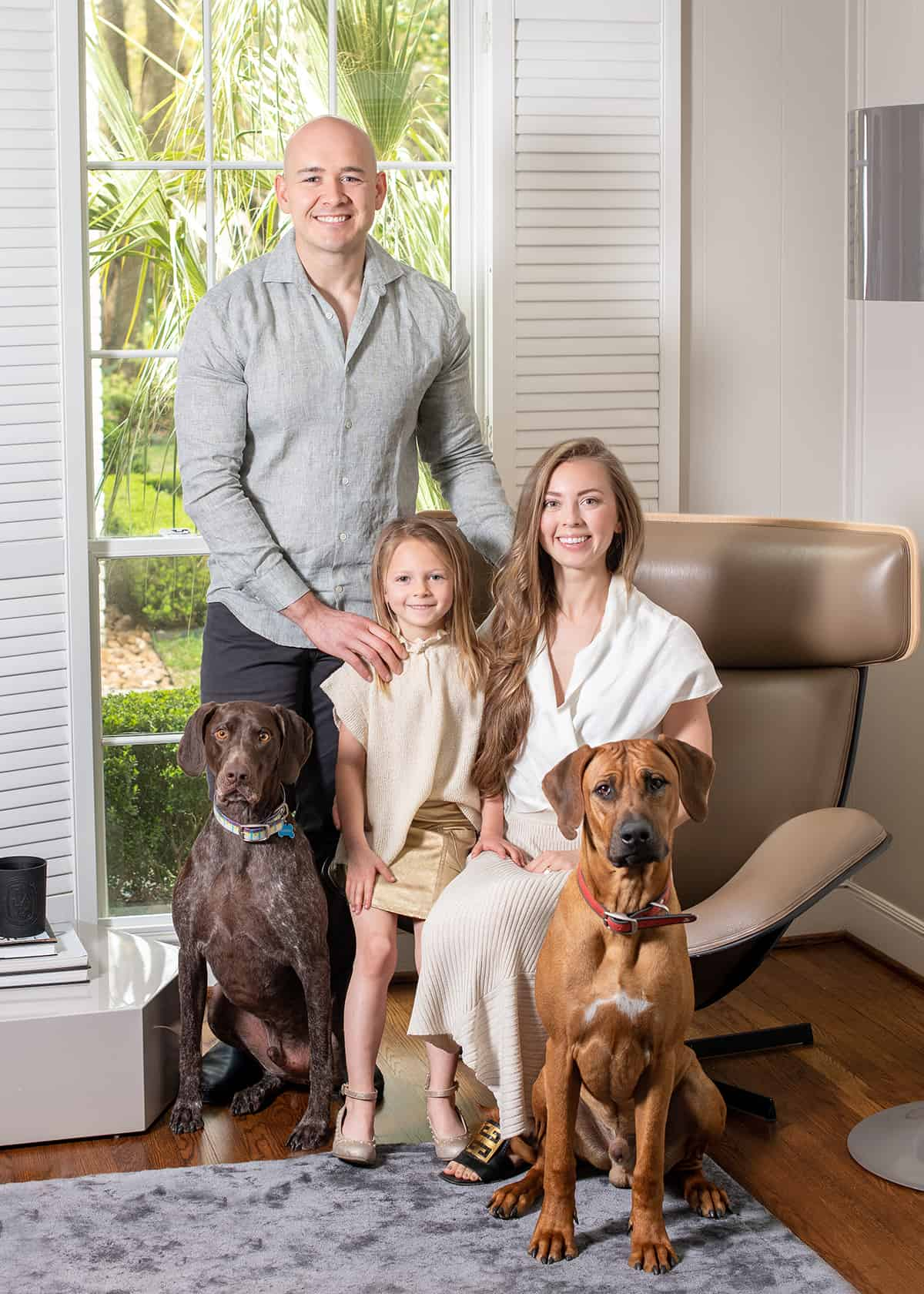 In home River Oaks photoshoot with young family for Magazine