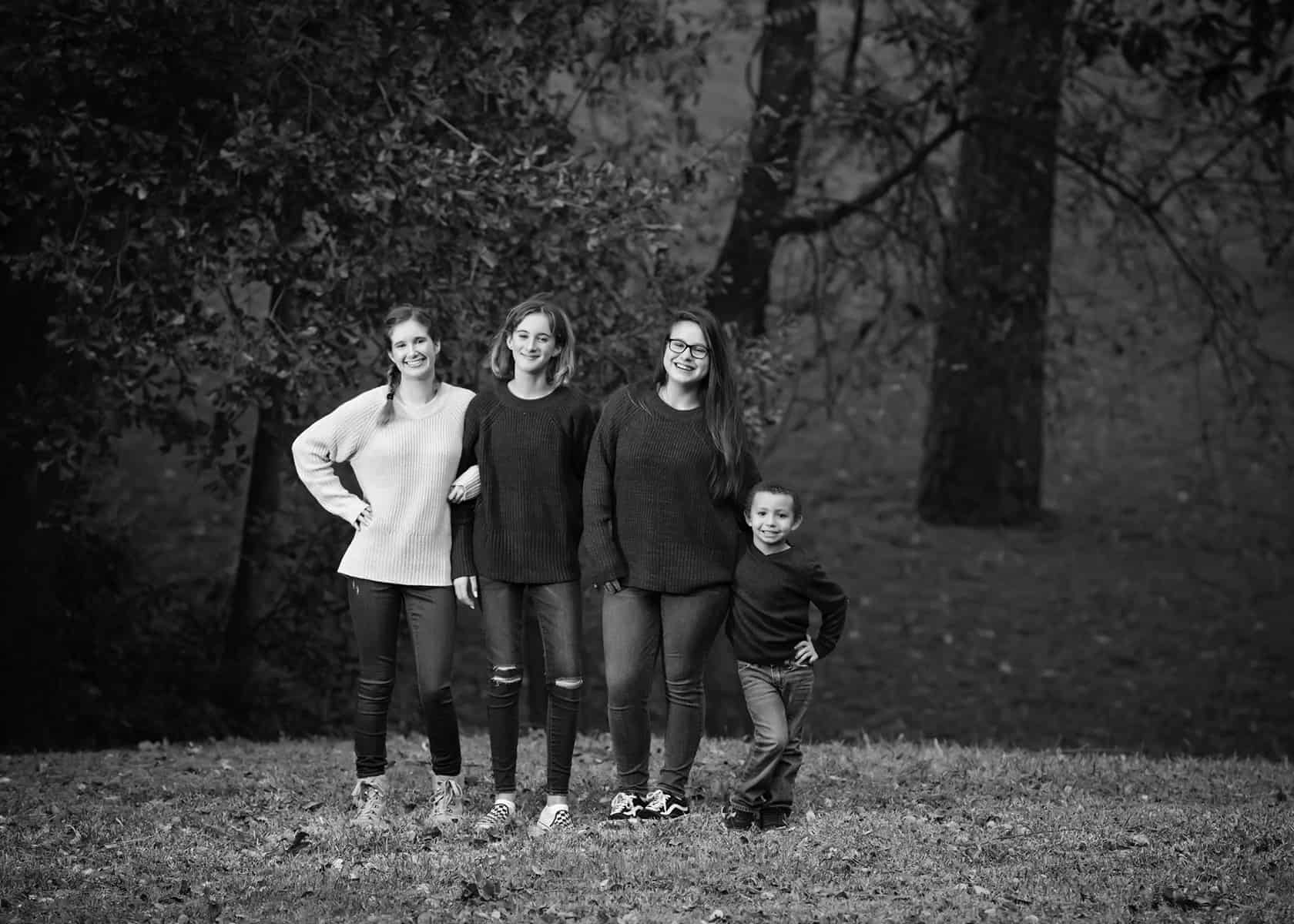 Cousins in the park family photoshoot in black and white