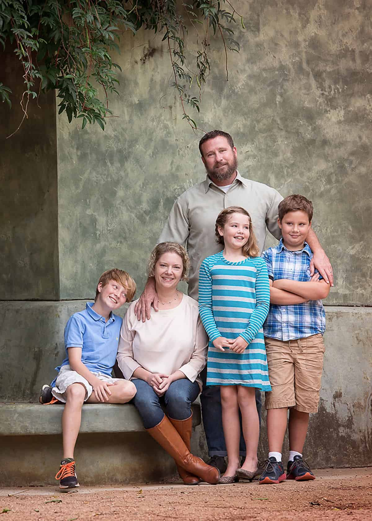 Family with three kids in Hermann Park