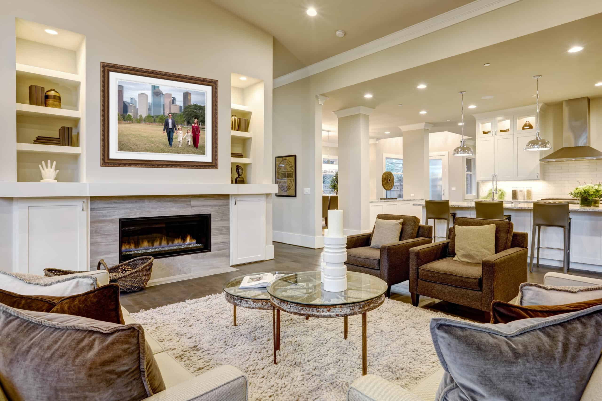Chic living room design in natural colors and open plan.